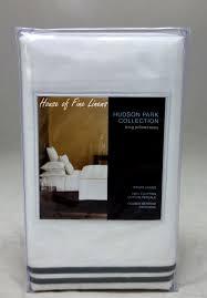 hudson park italian percale stitch king pillowcase pair charcoal white