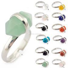 2019 fashion natural short crystal hexagon prism stone ring quartz healing chakra gemstone rings bohemia opening jewelry for women from goodsyiwu