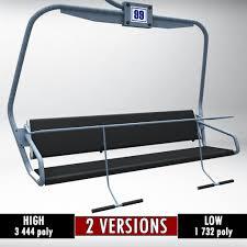 ski lift chair low poly 3d model low poly max obj 3ds fbx mtl 1