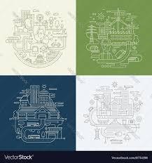 12 Design Compositions Line Design Compositions Set City Lifestyle