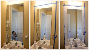 Framing A Large Mirror Diy Frame Your Bathroom Mirror And Our Bathroom Ricedesigns