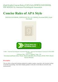 Epub Kindle Concise Rules Of Apa Style Download Ebook Pdf Kindle By
