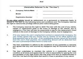 Company Loan To Employee Agreement Employee Vehicle Use Agreement Template Company Loan Form