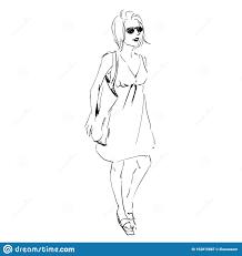 Design Diva Fashion Illustration Sketch Scribble Freehand Woman Stock
