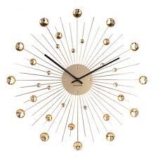 sunburst crystal large wall clock 50cm gold