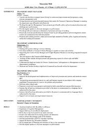 Transport Resume Samples Velvet Jobs