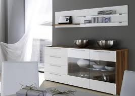 modern dining room buffet. Modern Buffet With Glass Doors And Grey Wall Color For Chic Dining Room Plan E