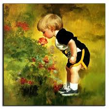 1pcs portrait canvas oil art painting lovely baby boy smell the flowers printed canvas paintings for