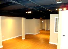 Unfinished Basement Ceiling Paint With Amazing Lighting Fixtures