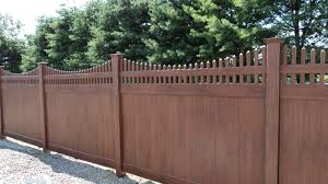 Brown vinyl privacy fence Lightweight Photo Of Triboro Fencing Contractors Walnutport Pa United States Victorian Fence Supply Online Victorian Scalloped Top Brown Vinyl Privacy Fence Yelp