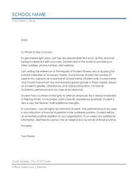 Letter Of Recommendation Student Reference Letter From Teacher