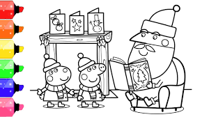 Get ready for mother's day with our mother's day special coloring in coloring pages with peppa pig, mommy pig and george pig. Peppa Pig Coloring Book Pages For Kids Peppa And Santa Youtube