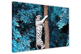 white tiger climbing blue tree on framed canvas wall art prints room deco poster photo landscape on framed canvas wall prints with white tiger climbing tree on framed canvas wall art prints room deco