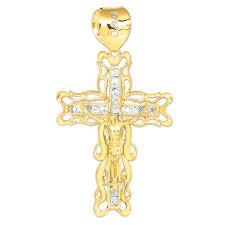 men s cz xl filigree crucifix cross pendant necklace in 14k gold