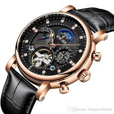 mens automatic mechanical rhinestone watches engraved wrisches genuine leather watchband under 100 automatic watches mens watch with 77 85 piece