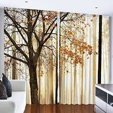 Ambesonne Curtains For Living Room By, Fall Trees Woodsy Country Theme Home  Decor Dining Room