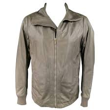 men s rick owens 46 muted taupe leather wide collar jacket for