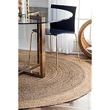 A Handmade Natural Fibers Border Jute Grey Area Rugs 8 Feet Diameter 8u0027  Round