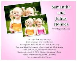 Invitation Words For Birthday Party Twins 5th Birthday Invitation Wording Aplicativo Pro