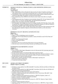 Reporting Analyst Resume Sample Lead Reporting Analyst Resume Samples Velvet Jobs 20