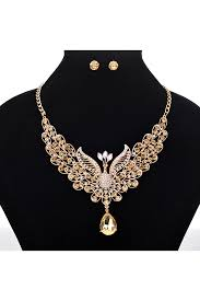 retro diamond peacock shaped water drop pendant necklace earrings gold pink queen