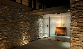 one corner inside the residence with textured stone