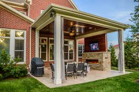 outdoor living space with covered patio and fireplace in mason oh inside beautiful covered outdoor