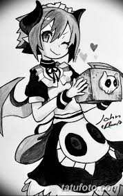черный эскиз анимэ 09032019 016 Anime Tattoo Black Sketch