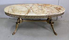 marble coffee table with oval top