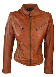 unique tan las real leather tan biker style fashion jacket size uk 6 20 dqeytr