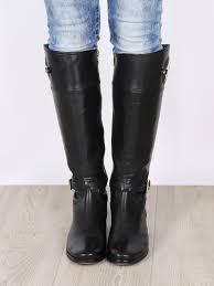 michael kors stockard black leather riding boots
