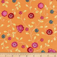 michael miller how does your garden grow pink bells orange blossom fabric