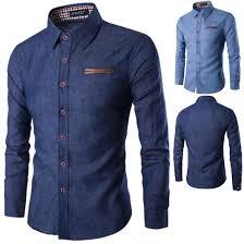 Gents Shirt Pocket Design Shirt Men Pocket Leather Cotton Long Sleeved Fashion Men Jeans Shirt Cotton Slim Fit Casual Denim Long Sleeve Solid Shirts