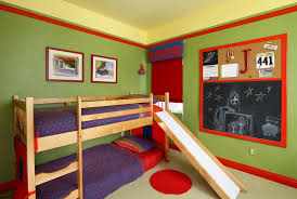 Bedroom:Nice Looking Kids Bedroom Using Green Wall Paint Plus Red Frame  Also Pine Wood