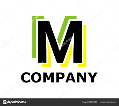 Double M Logo Design Green Yellow Color Logo Symbol Double Line Neon Light Type