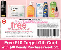 hot free 10 gift card with 40 beauty purchase at target
