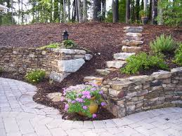 old world retaining wall and patio