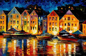 city painting night resting original oil painting by leonid afremov