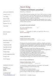 Consulting Resume Templates Trainee Recruitment Consultant Cv Sample Recruitment