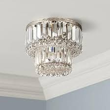 "Magnificence Satin Nickel 10"" Wide <b>Crystal Ceiling Light</b> - #6C991 ..."
