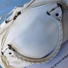 flawless balenciaga knockoff like new studded off white leather shoulder bag replica designer handbags uk