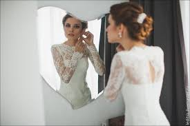 buy fitted style ivory lace wedding dress with long lace sleeves