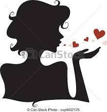 hearts silhouette silhouette hearts silhouette of a girl blowing hearts away clip art