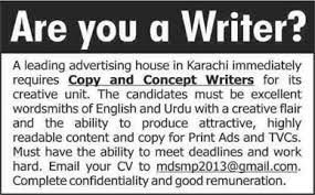 content writer jobs in karachi for an advertising house content writer jobs in karachi 2014 for an advertising house