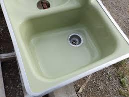 vintage mid century cast iron avocado porcelain retro kitchen sink
