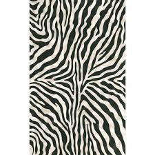trans ocean import visions i zebra black indoor outdoor rectangular 5 ft x 8 ft rug