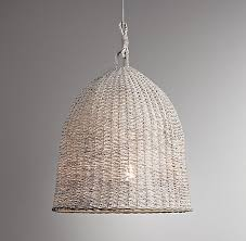 above the bell shaped seagrass market pendant handwoven from natural wicker with a whitewashed finish is 179 from restoration hardware baby child