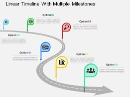 Linear Timeline With Multiple Milestones Flat Powerpoint Design