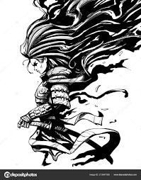 samurai woman long hair stock photo by
