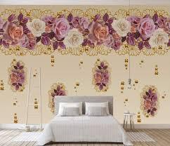 Wallpaper 3D Golden Rose Flower Vintage ...